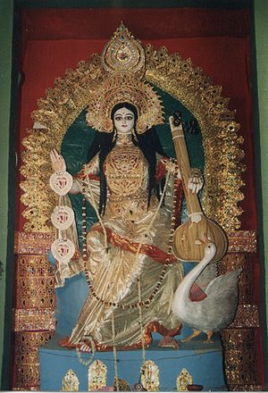 Vasanta (Ritu) - An idol of Goddess Saraswati prepared for Vasant Panchami in the streets of Kolkata.