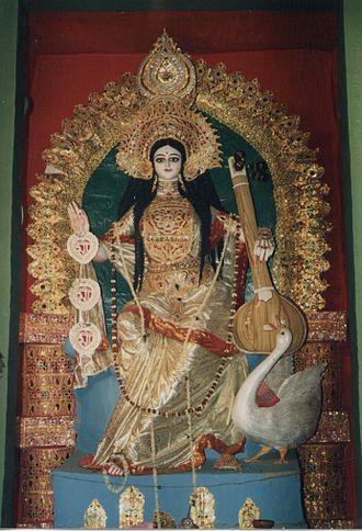 Basant (season) - An idol of Goddess Saraswati prepared for Vasant Panchami in the streets of Kolkata.