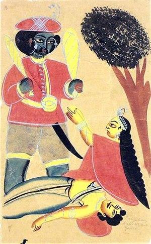 Savitri Brata - Savitri begs Yama for Satyavan's life.