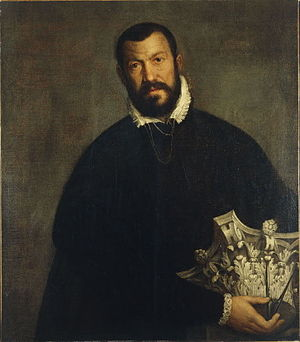 Corinthian order - Vincenzo Scamozzi offers his version of the Corinthian capital, in a portrait by Veronese (Denver Art Museum)