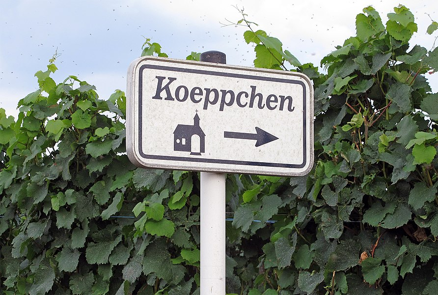 Waysign to the St. Donatus chapel on the Koeppchen near Wormeldange, Luxembourg