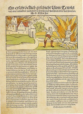1533 account of the execution of a witch charged with burning the German town of Schiltach in 1531 - Witch trials in the early modern period