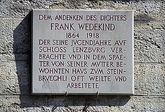 Lenzburg Castle - Plaque at the castle commemorating Frank Wedekind, 'who spent his childhood years at Lenzburg Castle and often stayed and worked at the house in which his mother later resided, Zum Steinbrüchli'
