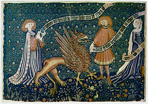 Love Tapestry; fragment; Basel c. 1450