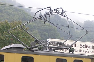 Pantograph (transport) - The diamond-shaped, electric-rod pantograph of the Swiss cogwheel locomotive of the Schynige Platte railway in Schynige Platte, built in 1911