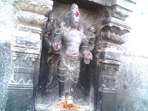Kurmanathaswamy temple, Srikurmam - A relief of Vishnu being worshipped in the temple