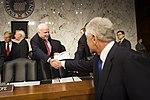 Secretary of Defense Chuck Hagel, greets Senator John McCain at the Senate Hart Office Building in Washington, D.C. April 17, 2013.jpg