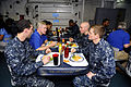 Secretary of the Navy Ray Mabus, second from left, shares dinner with U.S. Sailors during his visit to the aircraft carrier USS Enterprise (CVN 65) while in the Arabian Sea Aug. 6, 2012 120806-N-FI736-205.jpg
