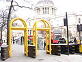 Security gates thatcher funeral yellow close.JPG