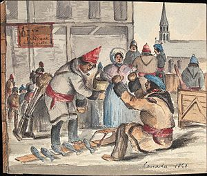 Fish market - Selling fish in a Quebec Market, c. 1845.