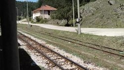 Файл:Septemvri-Dobrinishte narrow gauge line video - Tsvetino railway station.webm