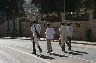 Israeli–Palestinian conflict - Israeli settlers in Hebron, West Bank
