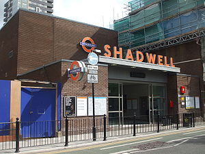 London Overground - The London Overground roundel and 3D lettering at Shadwell station