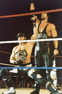 Deux catcheurs sur le ring saluant le public. Le premier torse nu avec une casquette noire est accroupi la jambe gauche fléchi tandis que le second est debout et lève le poing droit au ciel.