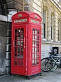 Sherlock Holmes phone box, St Bart's Hospital, City of London, England.jpg