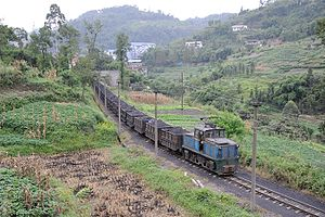 Narrow-gauge railways in China - A narrow-gauge railway in Qianwei County, Sichuan Province used to haul coal.