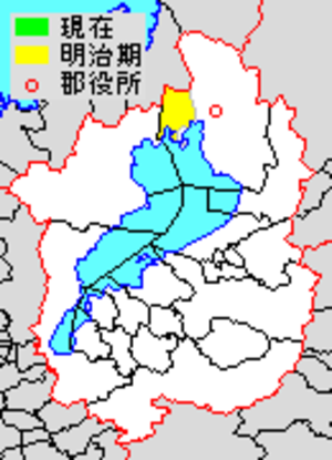 Nishiazai District, Shiga - Map of Nishiazai District with Meiji period (1890) area in yellow.