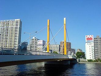 Sudden Shower over Shin-Ōhashi bridge and Atake - The modern Shinohashi bridge in Tokyo in a very similar location to the old bridge.