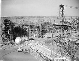 North Carolina Shipbuilding Company - Ships under construction, circa in 1944.