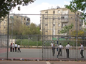 Shmuel HaNavi (neighborhood) - Haredi boys play on the Shmuel HaNavi sports field adjacent to the community center.