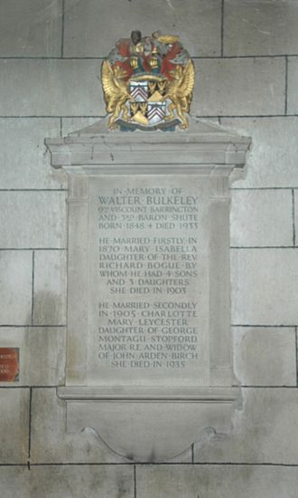 Walter Barrington, 9th Viscount Barrington - Limestone monument to Walter Bulkeley Barrington in St Andrew's parish church, Shrivenham in the Vale of White Horse, England