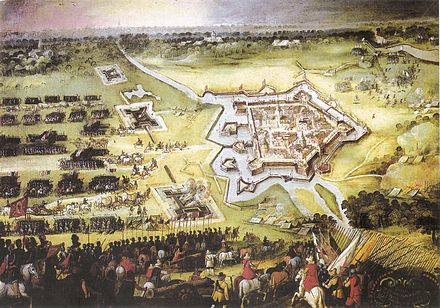 Groenlo relieved by Spinola, November 1606. Maurice's army (right) sounds the retreat. Siege of Groenlo November 9th 1606 Snayers.jpg