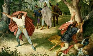Stab-in-the-back myth - 1847 painting by Julius Schnorr von Carolsfeld from the epic poem Nibelungenlied (Song of the Nibelungs). Hagen takes aim at Siegfried's back with a spear.