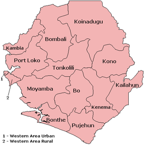 The 14 districts of Sierra Leone.
