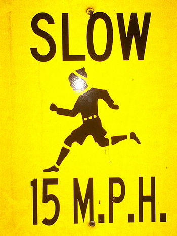 "Some ""slow children at play"" signs j..."