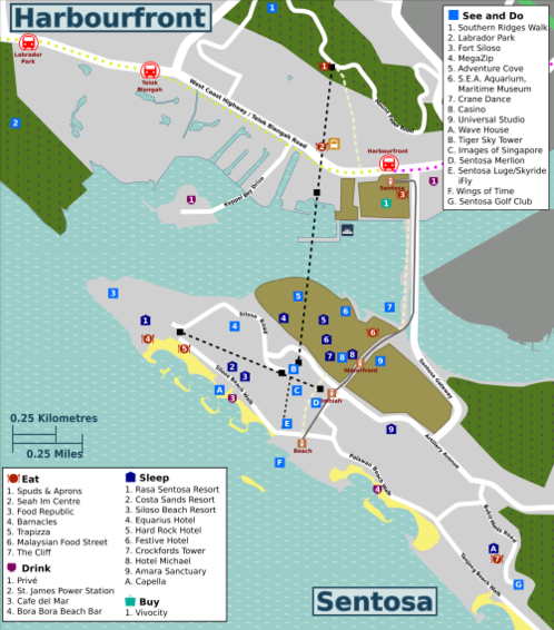 Map of Singapore/Sentosa and Harbourfront