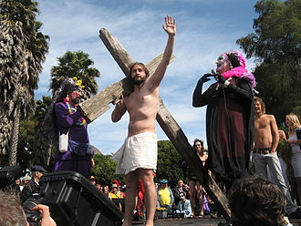 "Sisters of Perpetual Indulgence - The 28th Anniversary Celebration and community fundraiser held in San Francisco's Dolores Park includes a ""Hunky Jesus competition""  hosted by Sister Dana Van Iquity and Sister Roma—There's No Place Like Rome!"