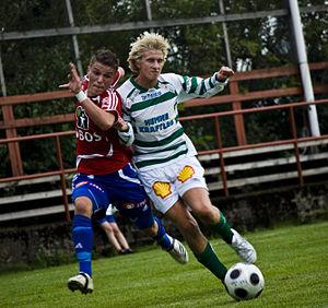 KIL/Hemne - Skeid Fotball - KIL/Hemne Fotball 7-3, Norwegian second division (level 3) group 2, 17 August 2008. Flamur Kastrati, Skeid (left); unknown player, KIL/Hemne (right)