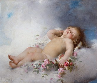 Putto - Sleeping Putto, by Léon Bazille Perrault, 1882