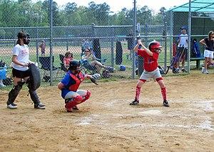A batter awaits the pitch