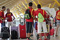 Spanish track and field athletes leaving.JPG
