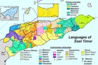 Ethnically diverse East Timor has Portuguese as one of its official languages Sprachen Osttimors-en.png