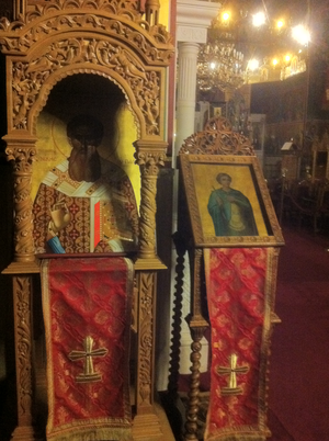Icon case - Icon of St. Gregory Palamas inside a kiot. Sitting alongside is an analogion. Thessaloniki, Greece