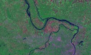 Same location imaged by the Landsat program in September 2002