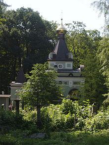 La cappella ove è sepolta Ksenija, sita nel cimitero di Smolensk a San Pietroburgo