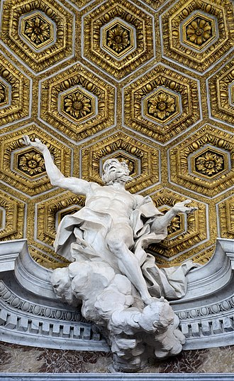 Sant'Andrea al Quirinale - Saint Andrew ascending to the sky on a cloud, by Antonio Raggi