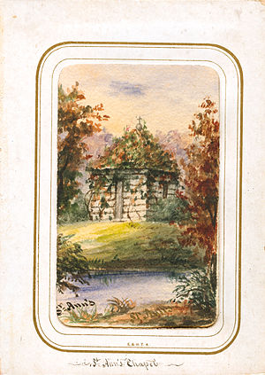 St. Anne Shell Chapel - This painting by Mother Mary Cecilia Bailly shows the original chapel, completed in 1844 and torn down in 1875.