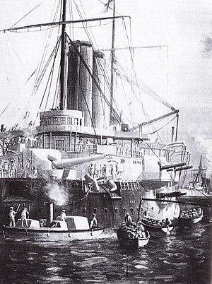 Die HMS St George und HMS Philomel im Hafen