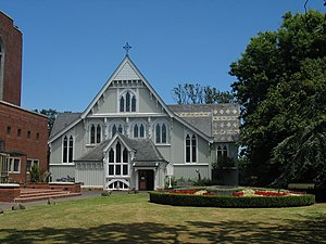 Holy Trinity Cathedral, Auckland - The modern cathedral complex includes Mountfort's earlier wooden cathedral of 1886.  The terminating gables served as an inspiration to the façade of the Cathedral Nave (illustrated above)