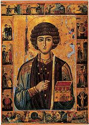 Icon of Saint Panteleimon, with scenes from his life, 13th century (Saint Catherine's Monastery, Mount Sinai).