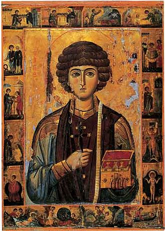 Saint Pantaleon - 13th century icon of Saint Panteleimon, including scenes from his life, from the Monastery of St. Katherine on Mount Sinai