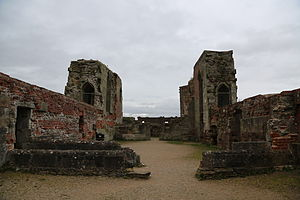 Stafford Castle -  The interior of the rebuilt keep