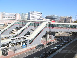 Downtown Stamford - View of buildings downtown with train station in foreground