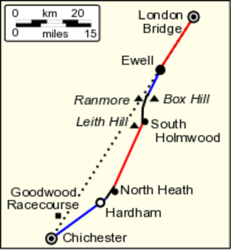 Stane Street (Chichester) - Map of Stane Street showing the four main limbs (red and blue) and linking sections (black).