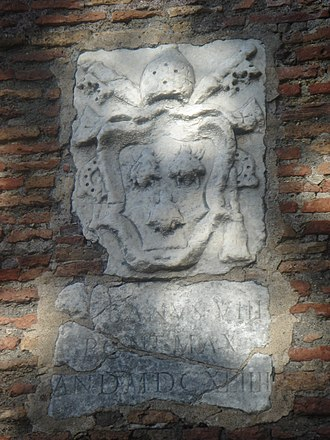 Janiculum walls - The coat of arms of Pope Urban VIII along the Janiculum walls