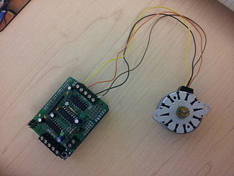Stepper motor - Stepper motor with Adafruit Motor Shield drive circuit for use with Arduino